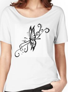 Black And White Floral Flower Design Women's Relaxed Fit T-Shirt