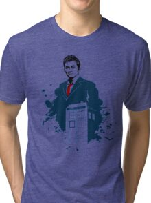 Dr. Who - Doctor Who - 10th Doctor w/ Tardis Tri-blend T-Shirt