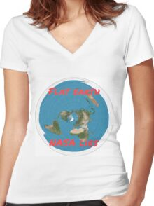Flat earth reality nasa lies Women's Fitted V-Neck T-Shirt