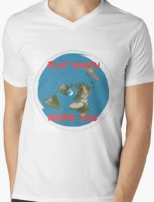 Flat earth reality nasa lies Mens V-Neck T-Shirt