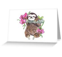 Happy Sloth with orchids Greeting Card