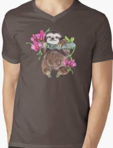 Happy Sloth with orchids Mens V-Neck T-Shirt
