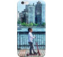 Little Girl on Scooter by Manhattan Skyline iPhone Case/Skin