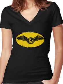 Bat logo  Women's Fitted V-Neck T-Shirt