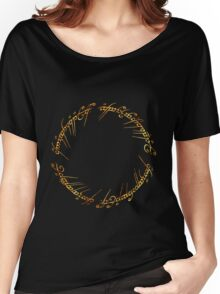 J. R. R. Tolkien - The Lord Of The Rings - Ring Inscriprtion - Flames Women's Relaxed Fit T-Shirt