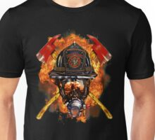 Volunteer firefighter in the fire Unisex T-Shirt
