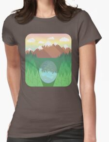 Mountain lake and forest Womens Fitted T-Shirt