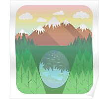 Mountain lake and forest Poster
