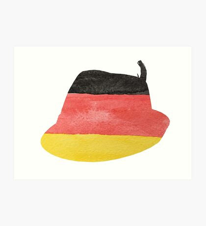 German Hunting Cap in German Flag Water Colors Art Print