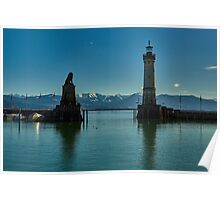 Looking out of Lindau Harbour mouth Poster