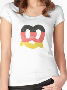 Pretzel in Hand-Painted Water Colors of German Flag Women's Fitted Scoop T-Shirt