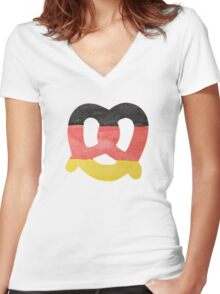 Pretzel in Hand-Painted Water Colors of German Flag Women's Fitted V-Neck T-Shirt