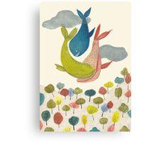 it's raining whales! Canvas Print