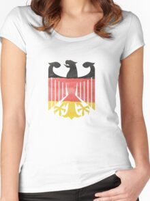 German Eagle Federal Coat of Arms in Germany Flag Water Colors Women's Fitted Scoop T-Shirt