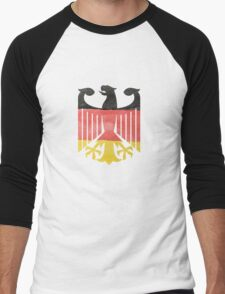 German Eagle Federal Coat of Arms in Germany Flag Water Colors Men's Baseball ¾ T-Shirt