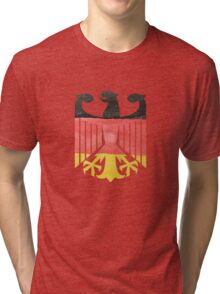 German Eagle Federal Coat of Arms in Germany Flag Water Colors Tri-blend T-Shirt