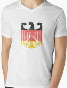German Eagle Federal Coat of Arms in Germany Flag Water Colors Mens V-Neck T-Shirt