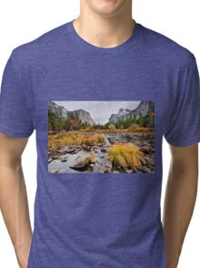 El Capitan and the Merced River in the Fall Tri-blend T-Shirt