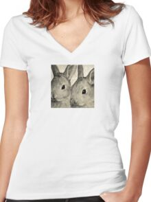 Wetnose Rabbits Sepia Women's Fitted V-Neck T-Shirt