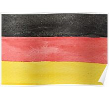 Germany Flag in Hand-Painted Water Colors Black, Red and Gold Poster