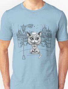 British cat hipster in Prague Unisex T-Shirt