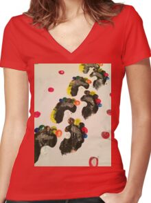 Painted Footprints Women's Fitted V-Neck T-Shirt