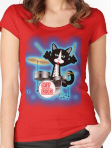 Cat Rock Drums Women's Fitted Scoop T-Shirt