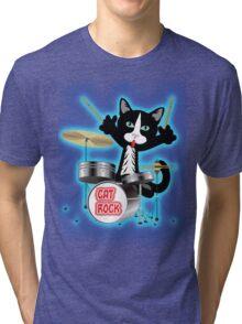 Cat Rock Drums Tri-blend T-Shirt