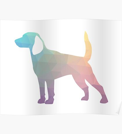 Beagle Hunting Hound Dog Colorful Geometric Pattern Silhouette - Pastel Poster