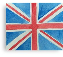 Union Jack UK Flag in Water Colors Red, White and Blue Canvas Print