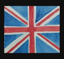 Union Jack UK Flag in Water Colors Red, White and Blue Baby Tee