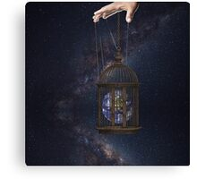 Surrealism fantasy Graphic Tee Earth Suspended inside cage  Canvas Print