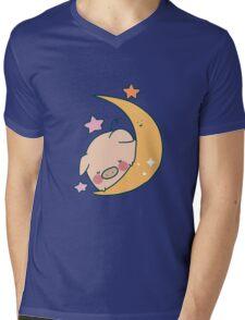 Sleepy Moon Pig Mens V-Neck T-Shirt