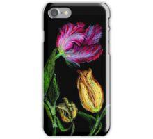 Tulpen,rot und gelb auf schwarzem Grund iPhone Case/Skin
