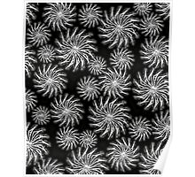 Abstract Spinning Stars b&w Pattern Poster