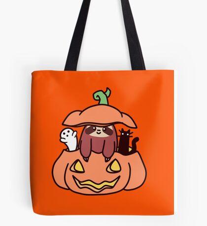 Jack O' Lantern Sloth Tote Bag