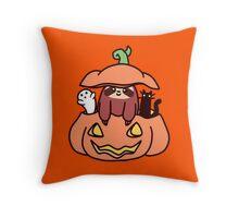 Jack O' Lantern Sloth Throw Pillow