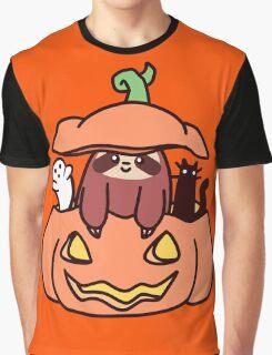 Jack O' Lantern Sloth Graphic T-Shirt