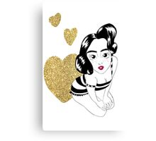 pin up girly in gold Canvas Print