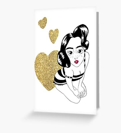 pin up girly in gold Greeting Card
