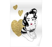 pin up girly in gold Poster