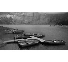 Rowing boats at Oeschinensee  Photographic Print