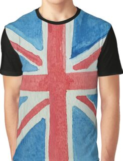 Union Jack UK Flag in Water Colors Red, White and Blue Graphic T-Shirt