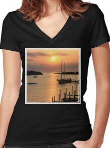 When the Sun Breaks Through ~ Gold Women's Fitted V-Neck T-Shirt