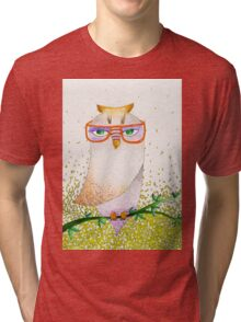Owl with glasses Tri-blend T-Shirt