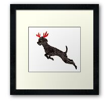 Black Poodle Christmas Reindeer with Red Antlers Framed Print