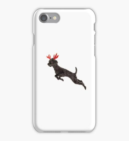 Black Poodle Christmas Reindeer with Red Antlers iPhone Case/Skin