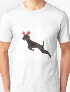 Black Poodle Christmas Reindeer with Red Antlers Unisex T-Shirt