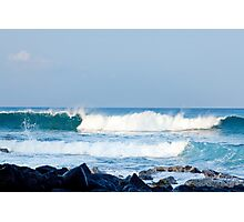 Hawaiian Coast Ocean Waves Rocky Beach Landscape Photographic Print