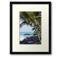 Hawaiian Coast Ocean Waves Rocky Beach Tropical Landscape Framed Print